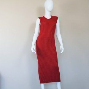 Vintage Sleeveless Red Sweater Dress
